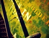 The Sign - Abstract, Grunge, Industrial, Metal, Surreal, Green, Yellow, Decor - 5x5 Fine Art Photography Print