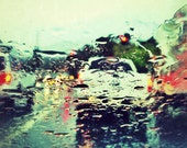 Raining Traffic - Rain, Water, Raindrop, Glass, Window, Traffic, Road, Car - 5x5 Fine Art Photography Print
