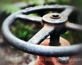 The Wheel - Rustic, Metallic, Green, Red, Metal, Home Decor - 5x7 Fine Art Photography Print
