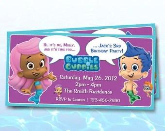 Bubble Guppies Birthday Invitations / Digital File / You Print