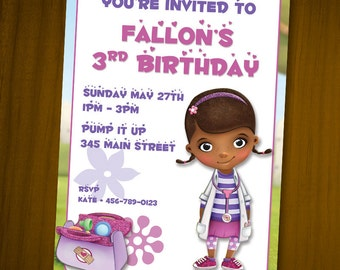 Doc McStuffins Birthday Invitations / Digital File / You Print