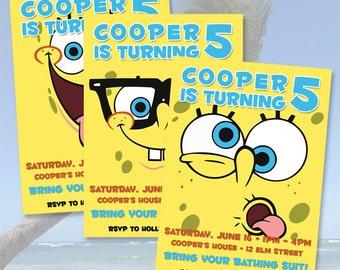 Spongebob Squarepants Birthday Invitations / Digital File / You Print