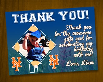 Baseball Thank You Cards with photo / Digital File / You Print