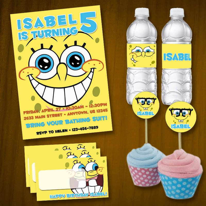 Spongebob invitation – Spongebob Birthday Cards