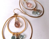 Double Hoops Hammered Gold - Wire Wrapped Pink Quartz Blue Topaz Handmade Earrings