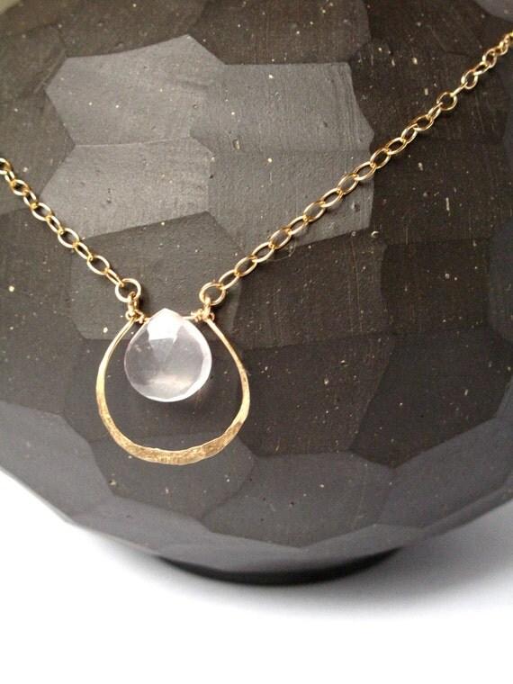 Hammered Gold Horseshoe Rose Quartz Briolette Necklace Handmade Jewelry