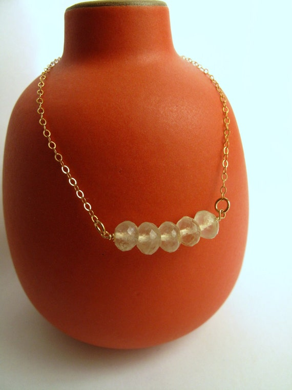 Dainty Prenite and 14k Gold Fill Necklace-handmade Jewelry