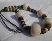 Boho Beautiful White Porcelain Gypsy Type Necklace