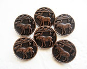 Vintage Buttons - copper tone picture buttons reindeer elk deer animal hunting figural sewing buttons for Tracht Trachten -L91