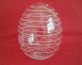 Hand-blown glass egg - clear with white spiral detail