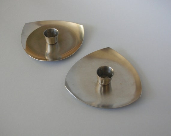 Danish-style candle stick holders. Stainless steel 1960/70s