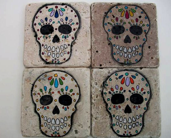 Calavera Sugar Skull Natural Travertine Coasters (set of 4)
