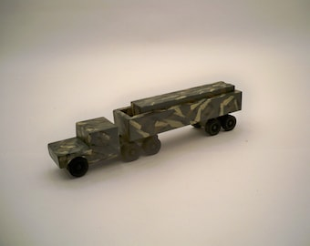 Green Camo. Tractor Trailer With Cago A Wood Toy  A Kids Toy A Wood Tractor Trailer