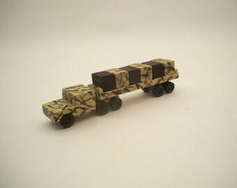 Desert Camo Tractor Trailer With Cargo, Cargo Tractor Trailer, Wood Toy Truck , KidsToy Truck ,Clasic Wood Truck