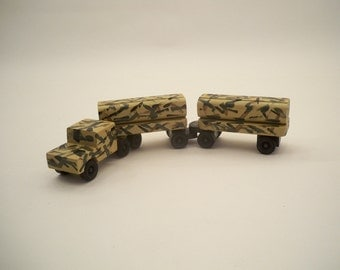 Wood Tractor Trailer, Wood Toy Car, Wood Toy For Kids.Camo Wood Toy Truck, Kids Wood Toy, Toy Truck