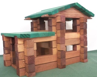 Toy Blocks,Square Log Home Set,Wood toy Blocks, Log Cabin Blocks, Kids Building Blocks, Wood Blocks,Kids Toy Blocks,Classic Style Blocks