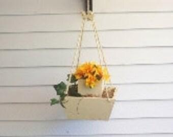 Hanging Flower Pot Planter,Hanging Plant,Wood Hanging Flower Pot,Deck Decor,Patio Decor,Patio Wood Planter, Deck Wood Planter,Indoor Planter