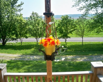 Hanging Flower Pot Planter, Flower Pot Hanger, Hanging Plant,Garden Decor, Wood Hanging Planter, Deck Flower Hanger, Patio Flower Hanger