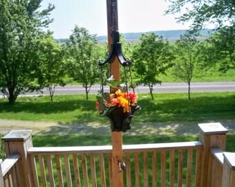 Wood Hanging Flower  Planter,Porch Hanging Planter,Hanging Plant,Garden Hanging Planter,Outdoor Wood Hanging Planter, Deck Hanging Planter