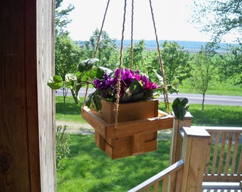 Wood Hanging Flower Pot Planter, Flower Pot Hanger, Wood Hanging Planter, Indoor and Outdoor Hanging Planter