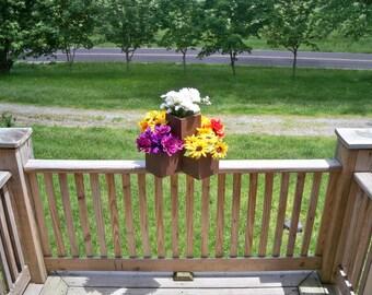 Rustic Flower Pot 5 In One unit, Rustic Center Piece, Wood Center Piece, Indoor Outdoor 5 In 1 Pot, Patio Flower  Pot,
