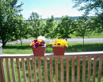 2 Rustic Wood Flower Pots, 2 Rustic Deck Flower Pots, 2 Rustic Wood Center Piece, 2 Patio Rustic Wood Flower Pots,Indoor Outdoor Flower Pots