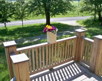 Rustic Wood Flower Pot, Deck Flower Pot, Patio Flower Pot Indoor Outdoor Flower Pot, Rustic Center Piece,