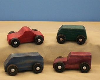 Wood Toy Cars, Wood toys, Kids Wood Toys, Kids Toys, Classic Wood Toys, 4 Small Wood Toys,A Set Of Toy Cars and Trucks