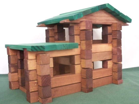Square log home set log cabin blocks kids by hummelcreations for Square log cabin