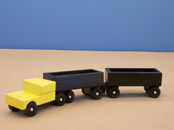 Piggy  Back Tractor Trailer, Wood Cargo Tractor Trailer, Wood Toy, Wood Toy Truck, Kids Toy, Boys Wood Toy, Kids Wood Toy