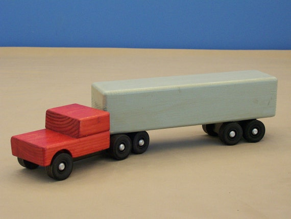 Toy Tractor Trailer Trucks : Wood toy tractor trailer truck semi