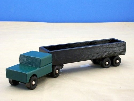 Toy Tractor Trailer Trucks : Wood tractor trailer open bed toy truck boys