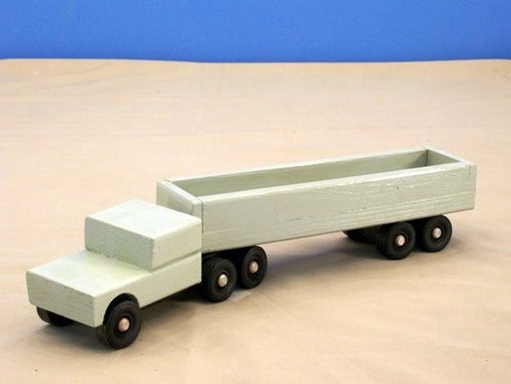 Toy Tractor Trailer Trucks : Toy tractor trailer wood truck
