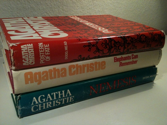 """Agatha Christie Books """"Elephants Can Remember"""", """"Nemesis"""", """"Postern of Fate"""", Agatha Christie Vintage Book Collection Interior Decor"""