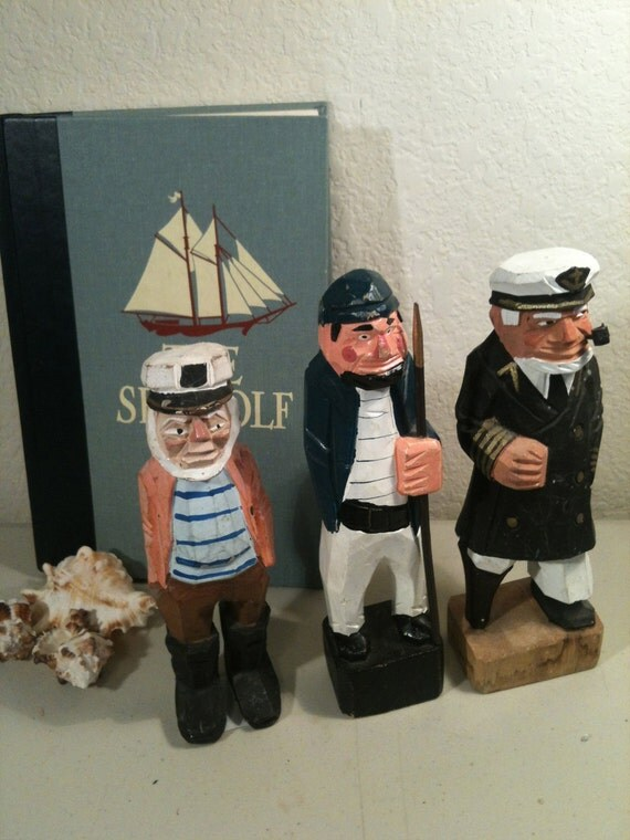 Wood Sailors Folk Art, Nautical Wood Carved Sailors, 3 Nautical Folk Art Sailor Wood Figures, Hand Carved Wood Sailors