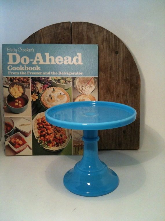 Blue Milk Glass Cupcake Pedestal/Stand Vintage, Blue Milk Glass Petit Fours Stand, Blue Milk Glass Cake Stand/Pedestal