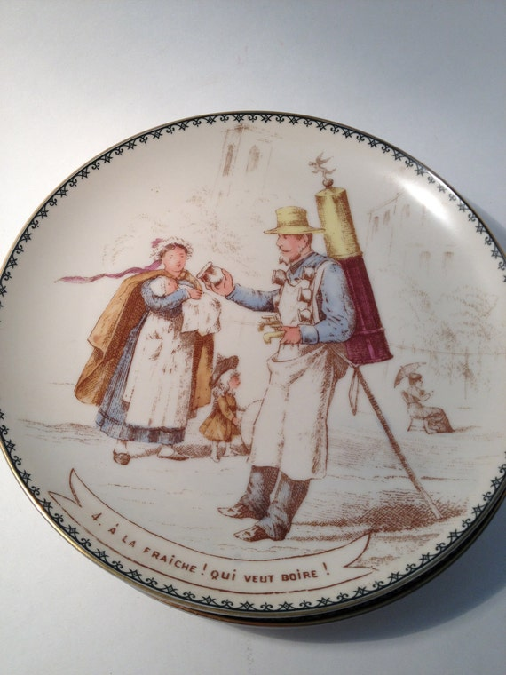 4 French Plates, Vintage French Decor Plates, French Street Scene Plates, Paris Kitchen Decor