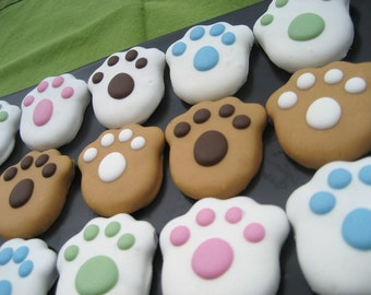 Gourmet Dog Treats - Peanut Butter Paws Decorated Dog Treats