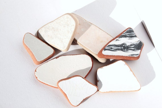 Set of 7 not only white beach pottery, mosaic supplies, jewelry supplies, ceramic, tile