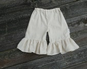 Custom boutique catherine natural cream ruffle capri pants shorts chic Easter vacation wedding outfit 12 18 24 36 mo 2T 3T 4T
