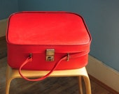 Large red vintage 1960s vanity case luggage