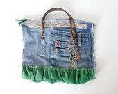 Vintage Remake Green Velvet Denim Bag