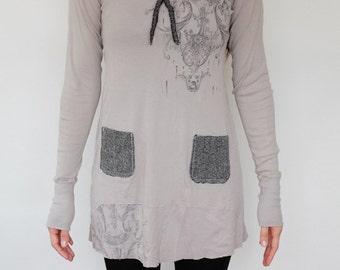 Wool Ribbon and Pocket T-Shirt Dress No.1