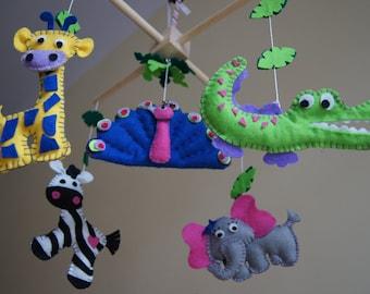 Baby Crib Mobile - Musical Baby Mobile -  Felt Mobile - Nursery mobile - Funny Zoo