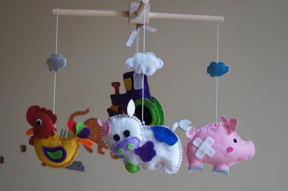 Tractor Mobile For Cribs : Baby crib mobile musical felt by