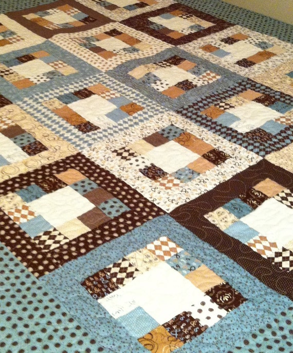 Market Square Large Throw Quilt- in Pure by Sweetwater- blues, browns, & creams