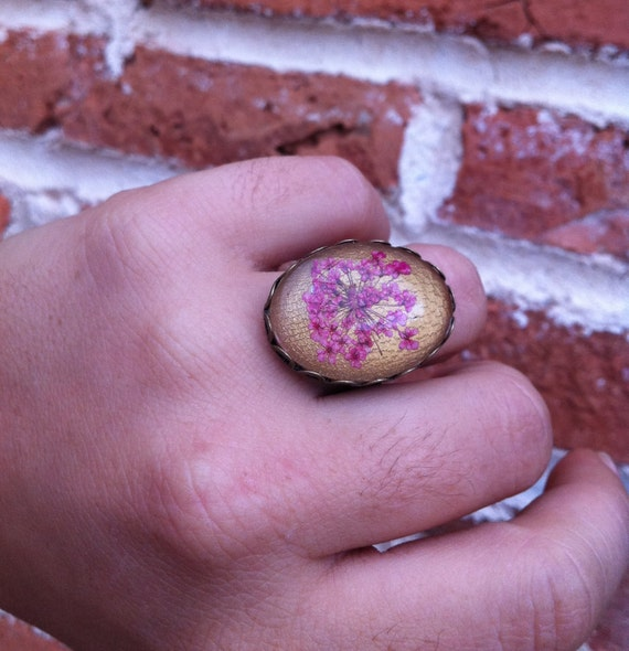 cute rings - pink ring - real flower jewelry with pink Queen Annes pressed real flowers and crystal cabochon over golden dyed leather