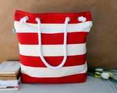 One Gift. For market or beach or gym, Bags handmade Lovely Bag white and Red striped beach bag. It's special collection for summer...