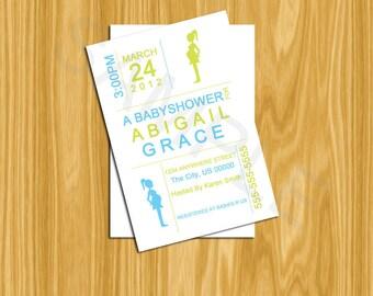 DIY Printable 4x6 Babyshower Invitation-Mod boy