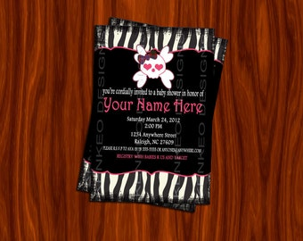 DIY Printable 4x6 Babyshower Invitation- Zebra Grunge Rockably girl